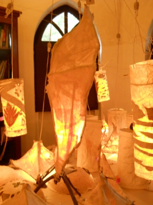 Paper Lamp workshop with 10 to 14 yr olds of Mango Tree art school